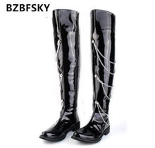 Fashion Forward Black Motorcycle Boots Men Patent Leather Over The Knee 66cm Pole Dancing Boot Men Chains Charm Zip 38-44(China)