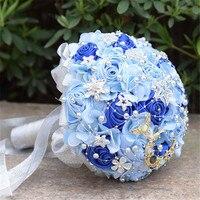 Silk Ribbon Rose Artificial Flowers Holding Flower Bride Groom Wedding Bridesmaid Decor Simulation Pearl Roses Flower Bouquet