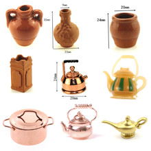 1/12 Scale Dollhouse Miniature Frying Pans Cooking Pot Kettle Pot Cookware Miniature Kitchen Kettle Toy Pot Dolls Accessories(China)