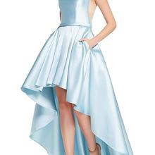 Homecoming-Gown Prom-Dress Women's Satin Long-Scoop Formal High Neck Low with