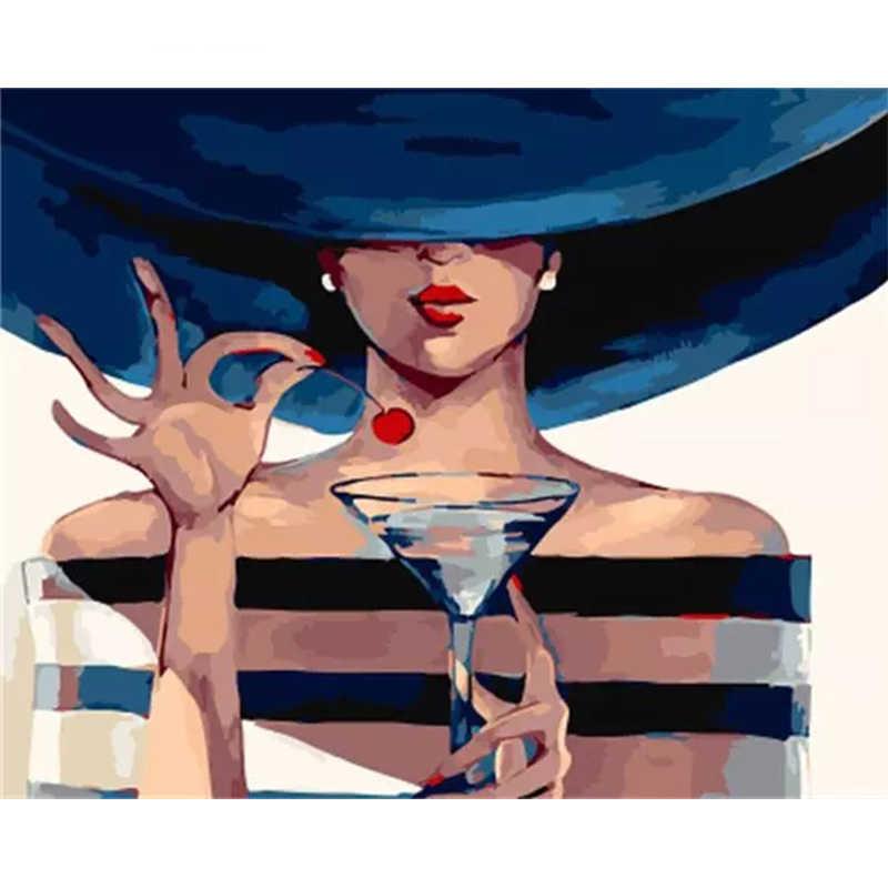 หญิงสาวรูปเชอร์รี่ DIY จิตรกรรมดิจิตอลโดยตัวเลข Modern Wall Art ภาพวาดของขวัญสำหรับตกแต่งบ้านเด็กใหญ่ขนาด