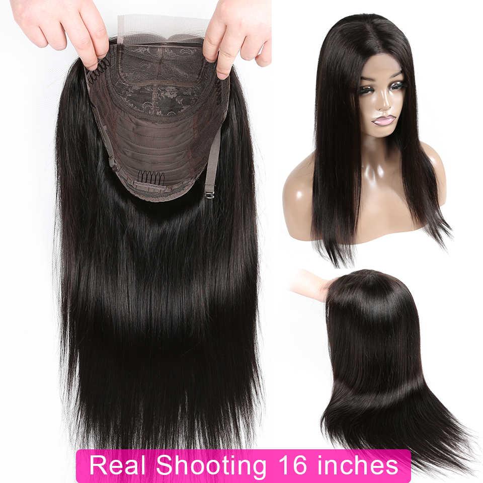 Yyong 4x4 zamknięcie koronki peruki peruwiański prosto zamknięcie koronki peruki dla czarnej kobiety Remy zamknięcie ludzki włos peruka niski stosunek