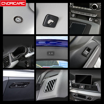 Carbon Fiber Style Center Console Air Conditioning Outlet Frame Cover Trim Dashboard Decoration Decals For Audi Q5 FY 2018 2019 image