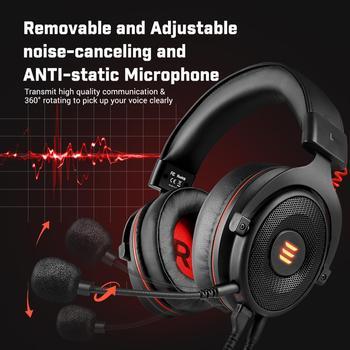 EKSA-auriculares E900 Pro para Gamer, cascos con USB 7,1/3,5mm, profesionales, con micrófono, Control de silencio, luz LED, para PC y móvil 3