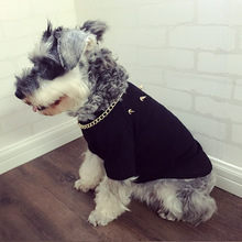New Dog Clothes: Chenery Hip Hop Big Gold Chain Bull Fighting Teddy Pet Cat Rivet T-shirt Fashion Winter Clothes