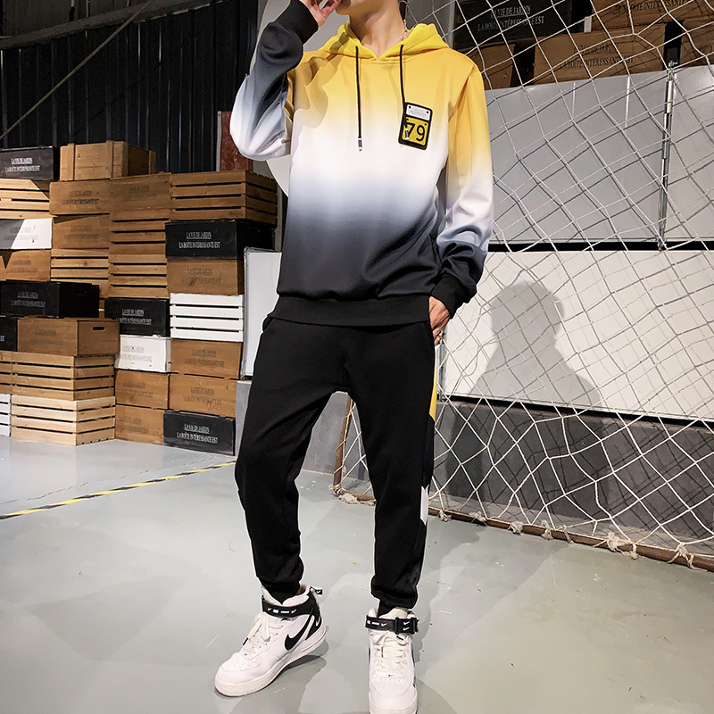 AmberHeard Tracksuit Men Spring Autumn Sweatsuit Set Hooded Sweatshirts+Pants Sporting Suits Hip Hop 2PCS For Male Sportswear