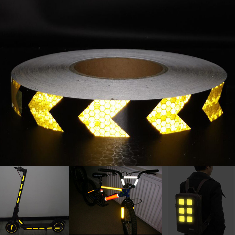 PET Width25mm Car Decoration Safety Mark Motorcycle Reflective Tape Stickers Car Styling For Automobiles Safe Material
