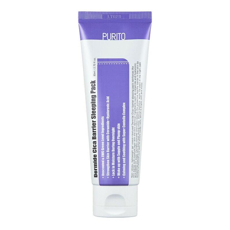 PURITO Dermide Cica Barrier Sleeping Pack 80ml Sleep Face Mask Whitening Nourishing Mask Moisturizing Repair Brighten Skin