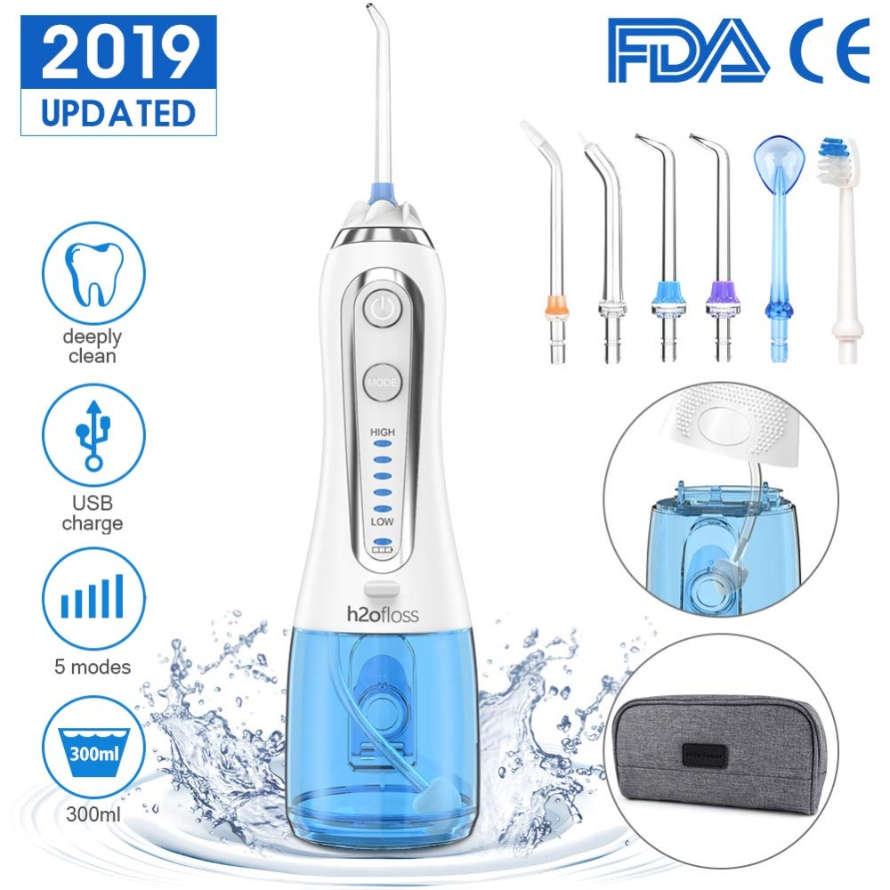 300ml Portable Oral Irrigator USB Rechargeable Dental Water Flosser Jet 5 Modes Irrigator Dental Teeth Cleaner + 5 Jet Tip & Bag