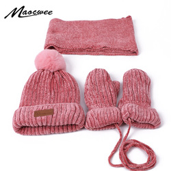 3 PCS Winter Baby Hat Scarf Gloves Set Children Pompon Knitted Hats For Girls Boys Thick Warm Gloves Scarf Beanies With Lining