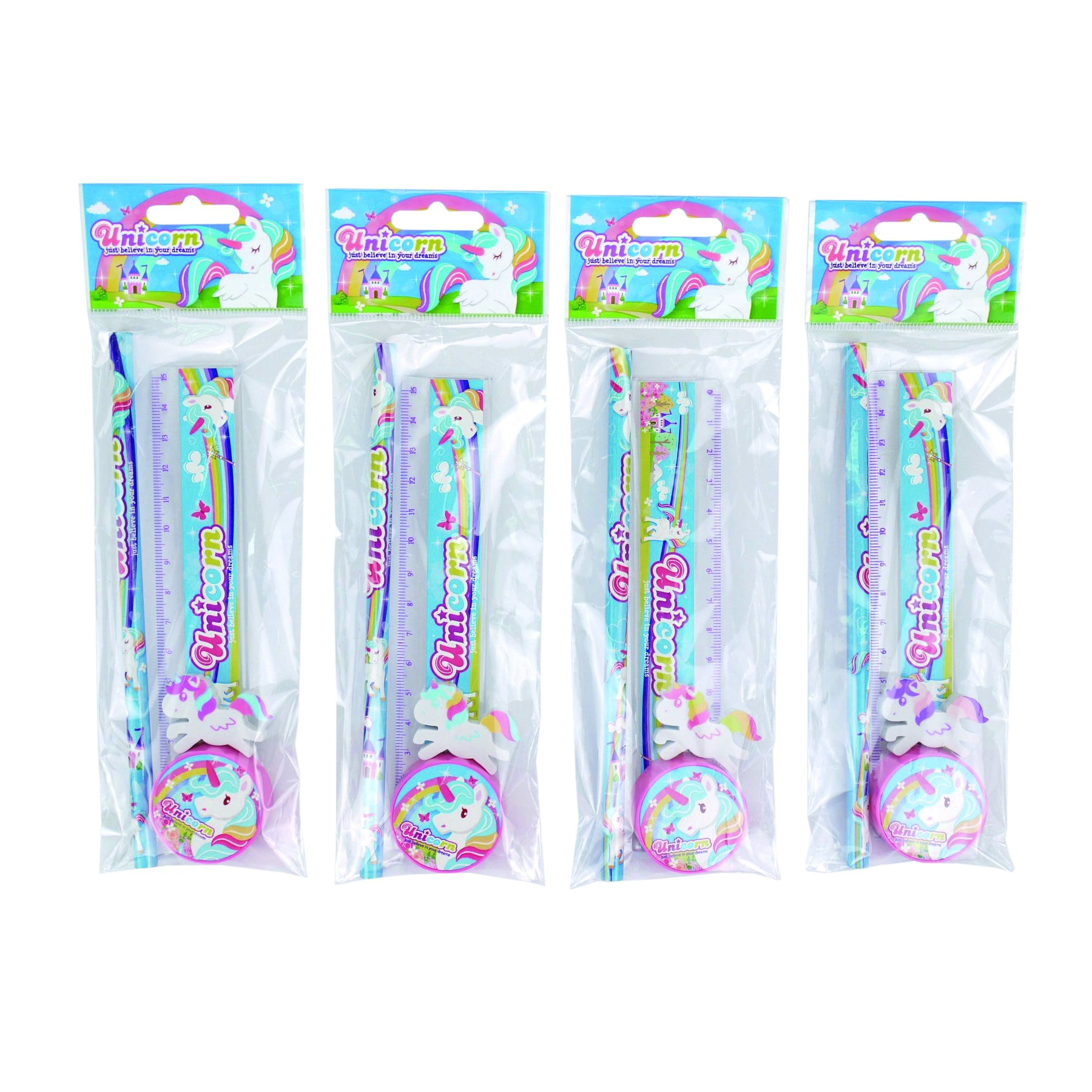 Set 4 PCs Stationery Unicorn In Mini Gift Bag-Details And Gifts For Weddings, Baptisms, Communions, Birthday And Parties.