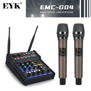 EYK Stereo Audio Mixer Build-in UHF Wireless Mics 4 Channels Mixing Console with Bluetooth USB Effect for DJ Karaoke PC Guitar