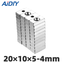 AI DIY 5/10/20pcs 20 x 10 x 5mm Hole 4mm Super strong block ring magnets N35 permanent neodymium magnet 20 *10*5-4