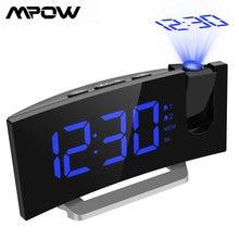 Mpow Led Fm Projectie Klok 2 Alarmen Multifunctionele Gebogen Scherm 5 Niveaus Display Helderheid 4 Verstelbare Alarm Geluiden Wekker