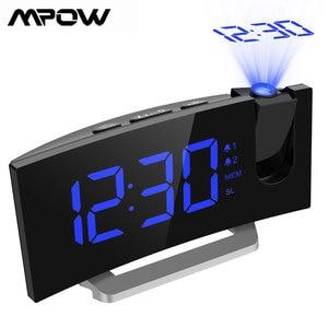 Image 1 - Mpow led fm 投影時計 2 アラーム多機能曲面スクリーン 5 レベル表示輝度 4 調整可能なアラーム音 wekker
