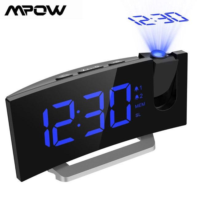 Mpow led fm 投影時計 2 アラーム多機能曲面スクリーン 5 レベル表示輝度 4 調整可能なアラーム音 wekker