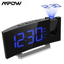 Mpow led fm relógio de projeção 2 alarmes multifuncional tela curvada 5 níveis display brilho 4 sons alarme ajustável wekker