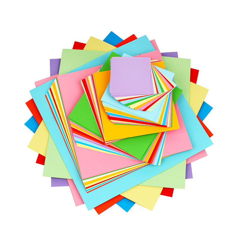 100PCS DIY Square Color Paper Double Sided Folding And Cutting Creative Handmade Educational Toys For Children Kids