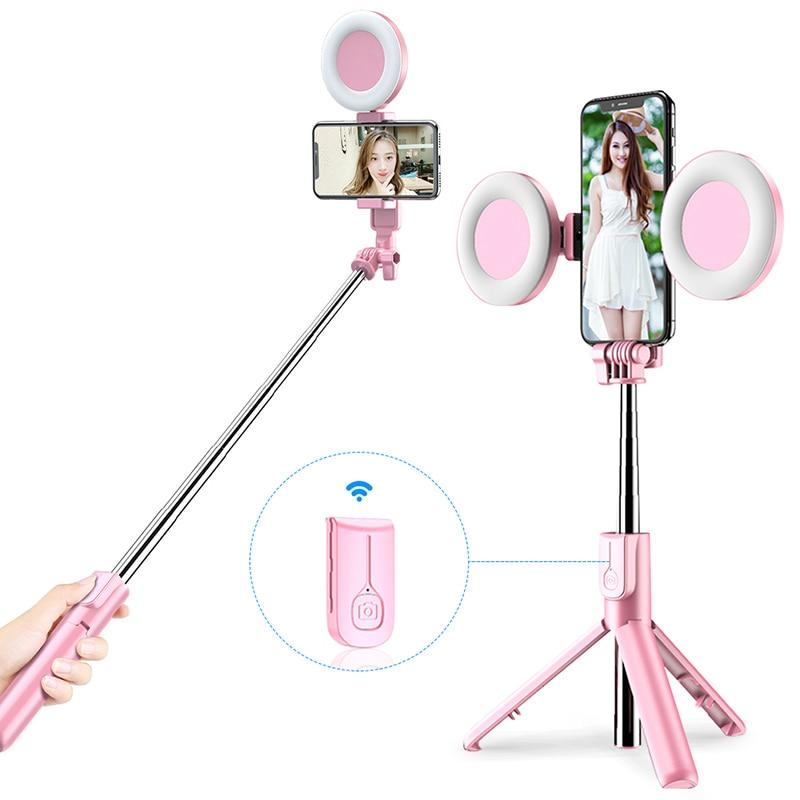 Vara sem fio de bluetooth selfie com luz led anel tripé dobrável monopé para iphone xiaomi huawei samsung android tripé ao vivo|Paus de selfie|   -