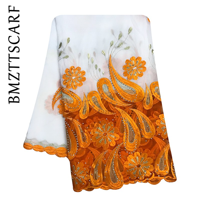 New African Women Scarfs Muslim Embroidery Soft Chiffon Splicing Big Scarf For Shawls Wraps Pashmina Women Scarf BM945