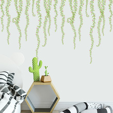 Creative Green Rattan Wall Stickers Plant Art Wall Decals For Kids Rooms Bedroom Living Room TV Background Home Decor   ZCJ074 bedroom wall decor deer wall stickers for kids rooms door stickers muraux home living room house decoration accessories