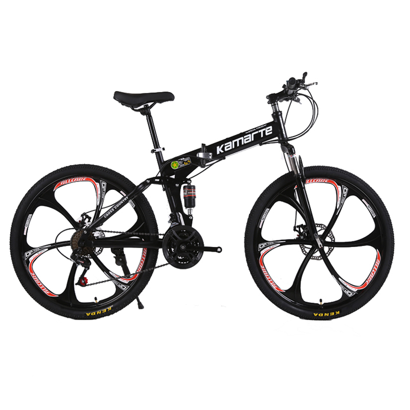 21 Speed Folded Mountain Bike 24/26 Inch 3/6/10 Knife Wheel Bikes Carbon Steel Double Disc Brake Sport Bicycles Mountain Bicycle