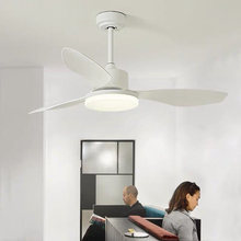 Nordic Creative Ceiling Ceiling Fans 3 Blades ABS Fan Ceiling Fans Lamps With Lights For Living Room home LED dimming light(China)
