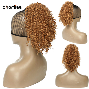 Chorliss афро короткий шнурок наращивание волос 8 дюймов Синтетические кудрявые конский хвост шиньон Короткие афро слоеные шиньон волосы