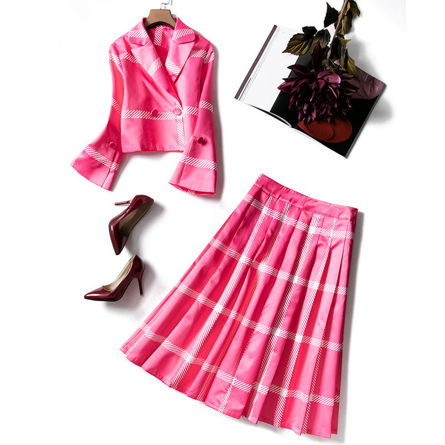 2020 New Arrival Autumn Winter Suits Women Blazer Suit Jacket Tops Pleated Skirt High Quality Runway Designer 2 Piece Sets