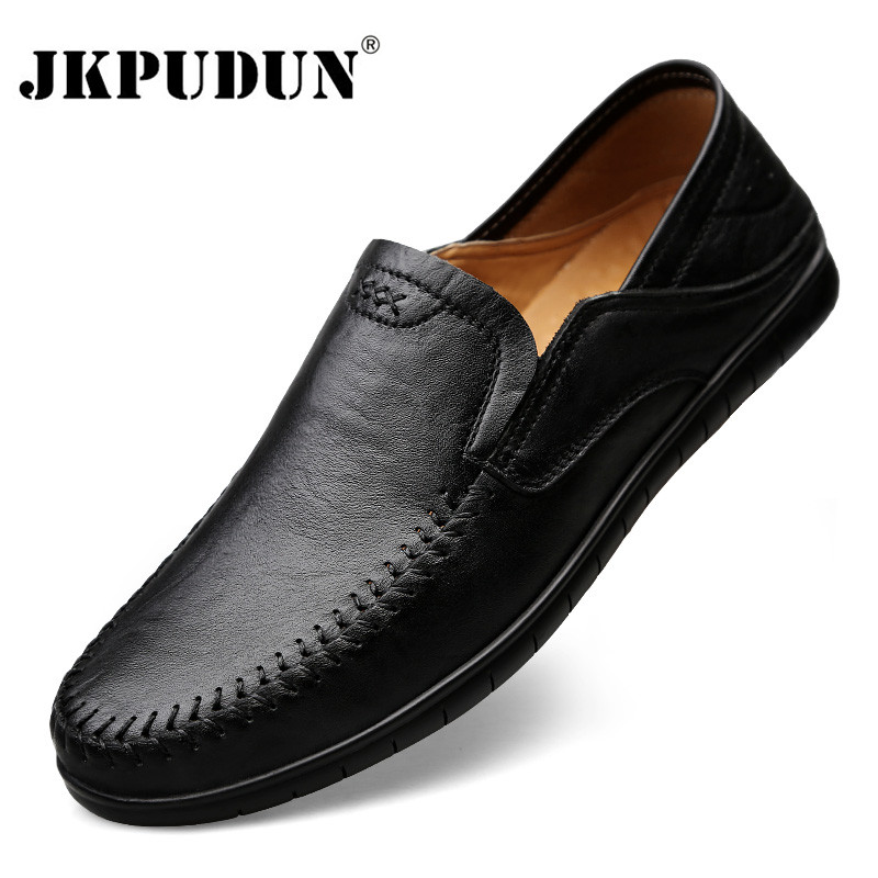 Genuine Leather Mens Shoes Casual Luxury Brand Men Loafers Fashion Breathable Driving Shoes Slip On Formal Moccasins Plus Size