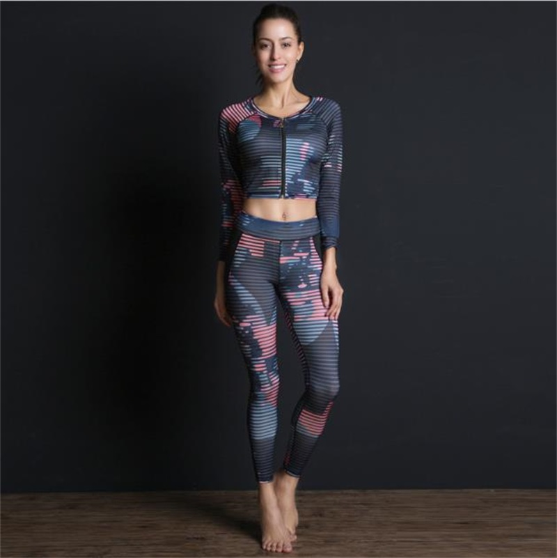 LAISIYI Women Sportswear 4 Pieces Set Leggins Bra Top Fitness Gym Clothes Running Tennis Jogging Workout Sport Suit
