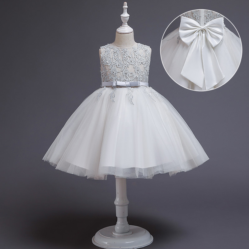 2020 Pageant White Girls Dresses For Party And Wedding Lace Clothes Dress Children's Clothing Big Bow Princess Dress Evening