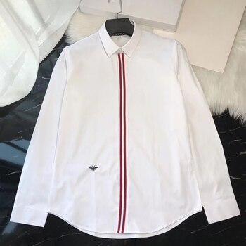DUYOU Mens Cotton Shirt Men Dress Shirt Men Striped Embroidery Animal High Quality Slim Fit Casual Shirts DY2292