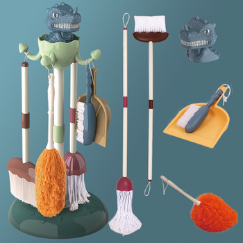 5 In 1 Kids Splicable Dinosaur Housekeeping Toys Set Broom Mop Brush Pretend Play Educational Cleaning Toys Tool Set For Kids