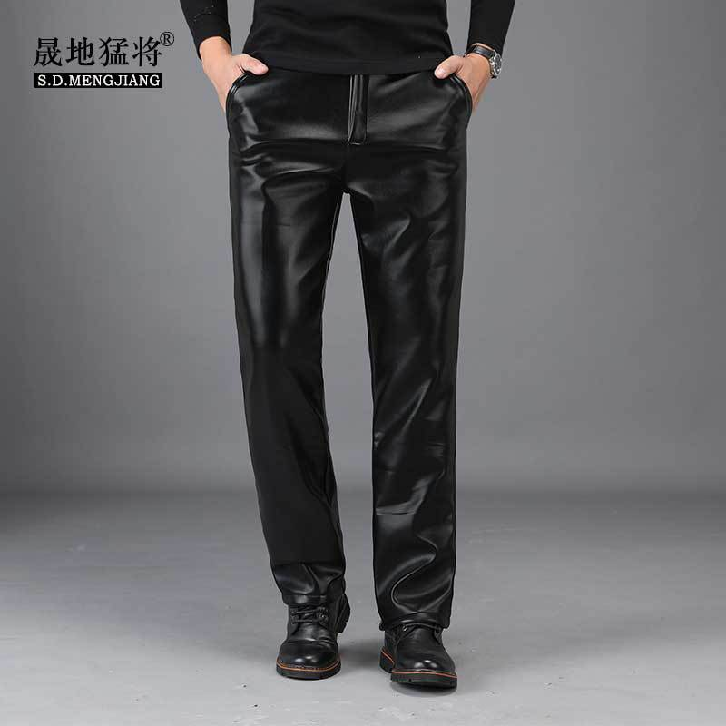Men Leather Pants Brushed And Thick Winter Locomotive Leather Pants Men's Motorcycle Loose-Fit Men Leather Pants Oil Resistant W