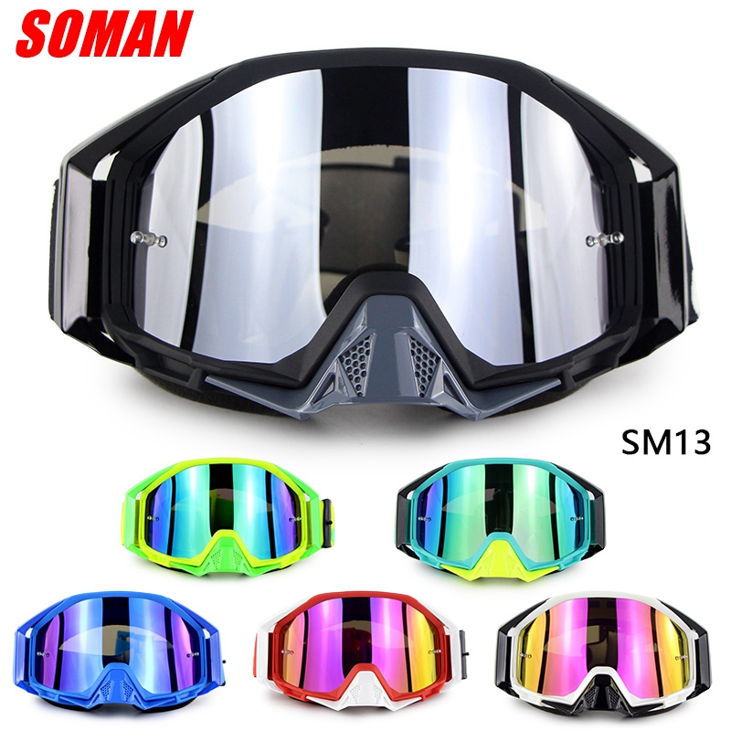 Professional Windproof Motorcycle Goggle Motocross Racing Eye wear Glasses Motorbike Glasses SOMAN SM13 image