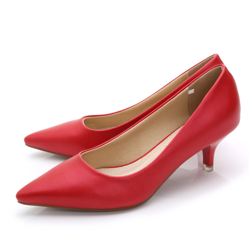 Women 5 Cm High Heel Shoes PU Leather Ladies Pumps Casual Leisure Thin Stiletto Heel Shoes Pointed Toe Pumps For Work Office