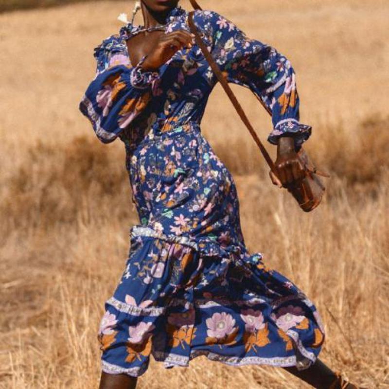 Femmes Sexy imprimé plage Boho robe élégante Vintage longue Maxi robe à manches longues fête Banquet soirée Vestido