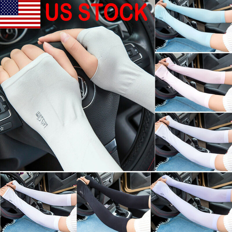 1Pair Sun Protection Arm Cooling Sleeve Warmers Cuffs Mens Sleeves Sport Gloves UV Cover Protection Cycling