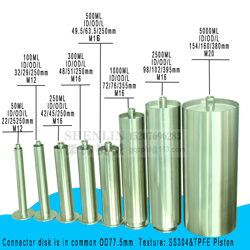 SHENLIN Piston Filler Stainless Piston Pipe Cylinder Of Filling Machine 100ml 300ml 500ml 1000ml SS304 And PTEF Piston Water