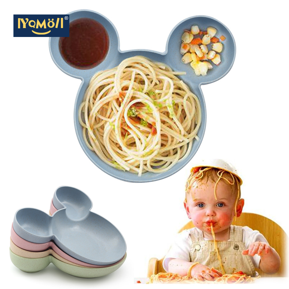 Kid Cartoon Mouse Mickey Bowl Dishes Lunch Box Kid Baby Children Infant Baby Rice Feeding Bowl Plastic Snack Plate Tableware
