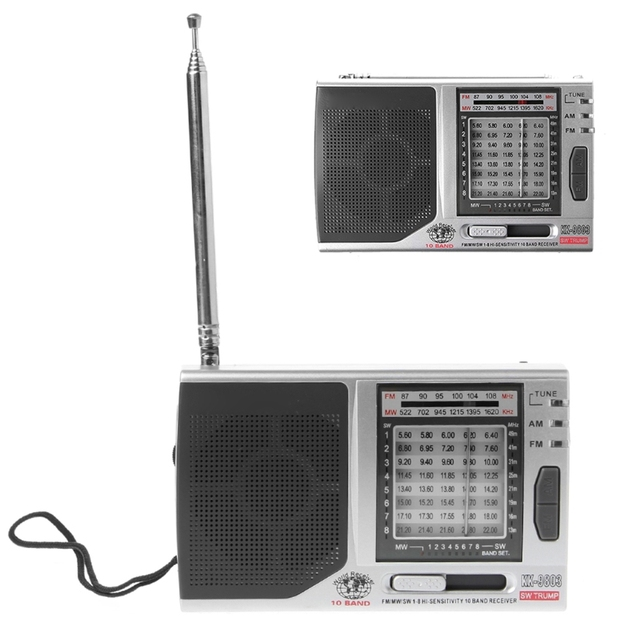 KK 9803 FM/MW/SW1 8 Full 10 Band Hi Sensitivity Radio Receiver With Folding Kickstand