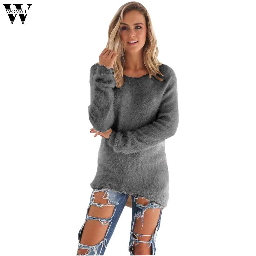 Womail 스웨터 여성 2019 가을 겨울 캐주얼 단색 긴 소매 점퍼 sweters 여성 긴 S-XL
