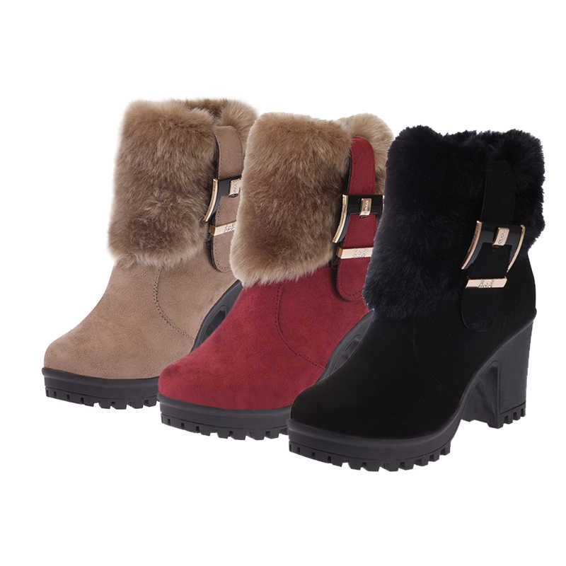DORATASIA yeni kış sıcak kürk patik bayanlar kaymaz Platform ayak bileği kar botları kadın kemer tokası zarif yüksek topuklu ayakkabı kadın