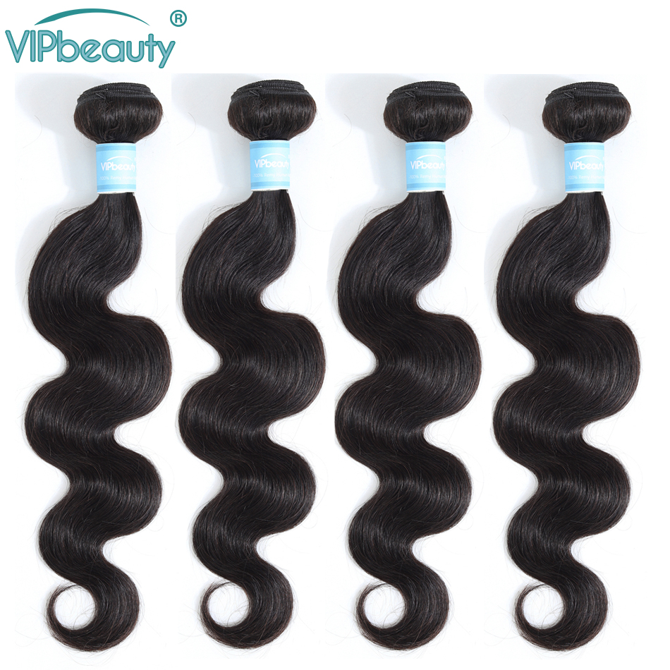 VIP Beauty Peruvian Body Wave 100% Human Hair Weave Bundles  10-28inch Natural Color 1B Remy Hair Extension Free Shipping