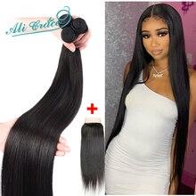 Brazilian Straight Hair Bundles With Closure 28 30 32 34 36 Long Human Hair 3 Bundles With Lace Closure Remy Hair Ali Grace Hair