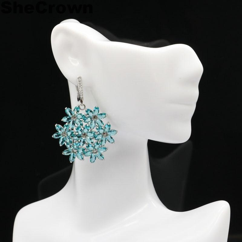 46x35mm Mooi gemaakt rijke blauwe aquamarijn witte CZ cadeau voor - Fijne sieraden