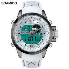 Marka BOAMIGO mężczyźni zegarki sportowe biały wielofunkcyjny cyfrowy zegarek analogowy quartz LED zegarki na rękę gumowy pasek 30m wodoodporny
