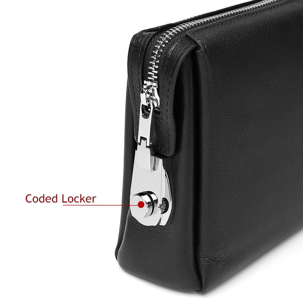 BISON DENIM Genuine Leather Men Clutch Wallets Fashion Zipper Male Wallet Men Purse Long Phone Wallet Men's Clutch Bag N8015