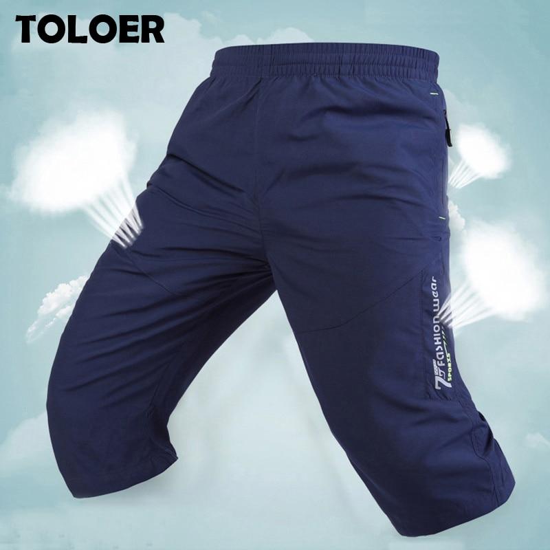Long Shorts Men Board Quick Dry Zipper Pockets Elastane Bermuda Male Thin Lightweight Stretch Capri Elastic Mens Shorts Summer